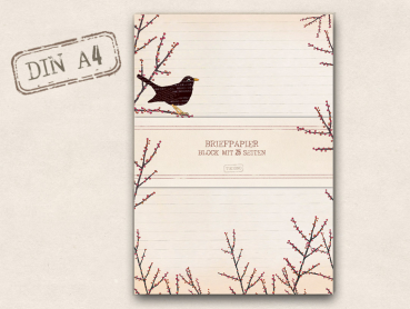 Briefpapier - Block Amsel